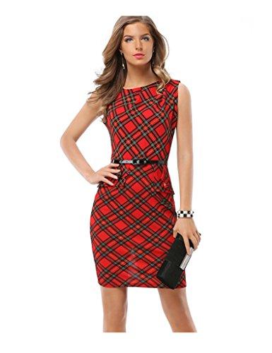 Bestgift Damen O-Ausschnitt Ärmellos Elegant Business Knielange Bodycon Pencilkleid Rockabilly Abendkleid Mit Gürtel Rot XXL
