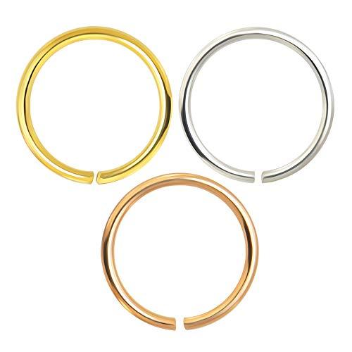 MONSTER PIERCING   14K Gold   Nasenring Nasenpiercing 9K Gold 22 Gauge - 8MM Durchmesser   offener Nasenring   Nase Piercing Frauen Männer   3 Stück