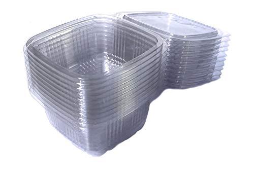 sellaviva Feinkostbecher 250ml (50 Stück) - Salatbox mit Deckel, transparent, eckig, Klappdeckel