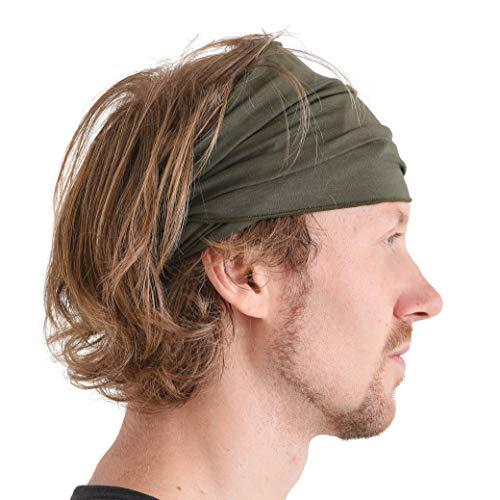 Casualbox Uomo elastico bandana Fascia Per Capelli giapponese lungo capelli dreads testa incarto cachi