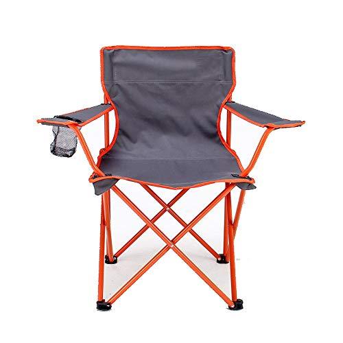 Jianghuayunchuanri Silla Plegable al Aire Libre Silla de Pesca portátil con Titular y Bolsa de Almacenamiento para Acampar, jardín, Barbacoa, Playa para Camping Garden (Color : Orange)