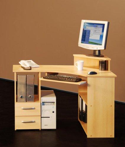 Eck-Schreibtisch mit Aufsatz in Buche