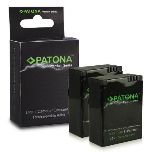 PATONA 2x Premium Batteria AHDBT-302 compatibile con GoPro HD HERO3 Hero 3+, affidabile e con qualità garantita