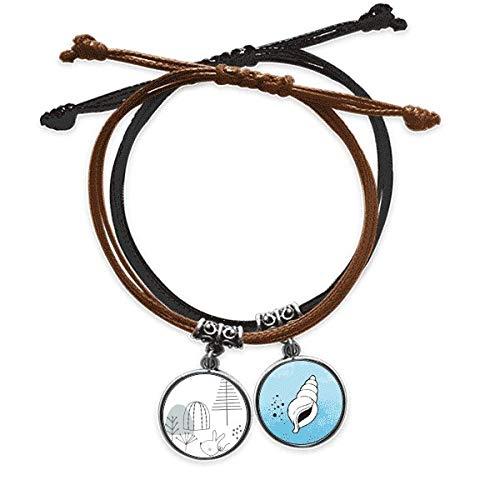 DIYthinker Cartoon Welpe Baum Hill Linienmuster Armband Seil Hand Kette Armband Leder Kegel