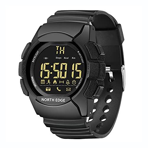 Relojes inteligentes para exteriores, reloj de natación resistente al agua 100M con botón de 1,46 pulgadas, reloj deportivo digital para hombre y cronómetro de calorías con podómetro, reloj militar