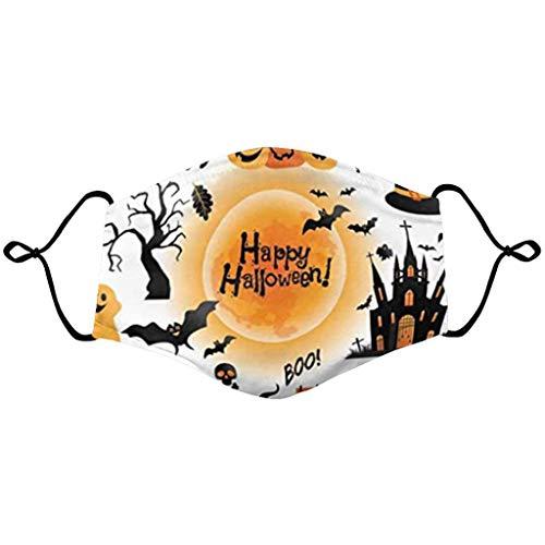 riou Halloween Mundschutz Damen mit Kürbis Motiv Stoff Waschbar Wiederverwendbar Atmungsaktive Staubdicht Mund und Nasenschutz Halstuch