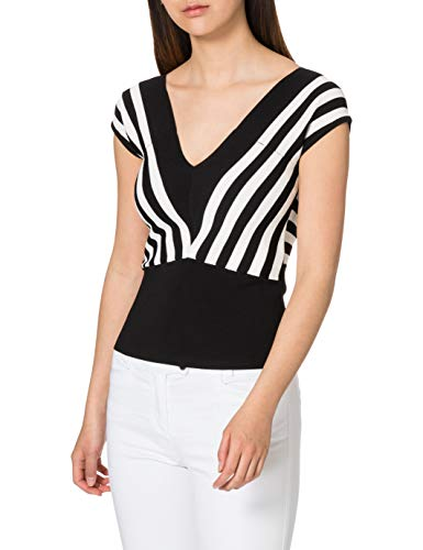 Morgan Pull Col v rayures diagonales Must Suéter, Noir/Off White, TM para Mujer