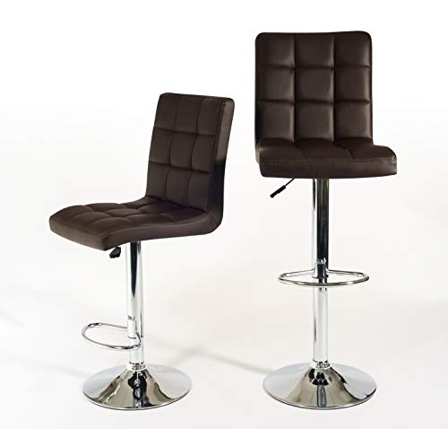 Bravich Set of 2 Barstools in Brown | Faux Leather Gas Lift Hight Adjustable Bar Chairs | 360° Swivel Breakfast Bar Kitchen Stool With Backrest and Footrest
