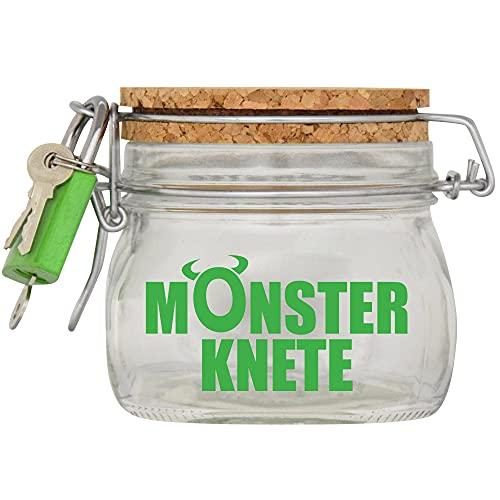 Spardose Monster Knete Grün Geld Geschenk Idee Transparent S