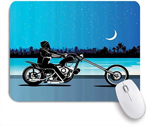HUAYEXI Stoff Mousepad,Motorrad Kunst mit Chopper Motorrad Biker Reiten unter Sternenhimmel Skyscape Silhouette,Rutschfest eeignet für Büro und Gaming Maus