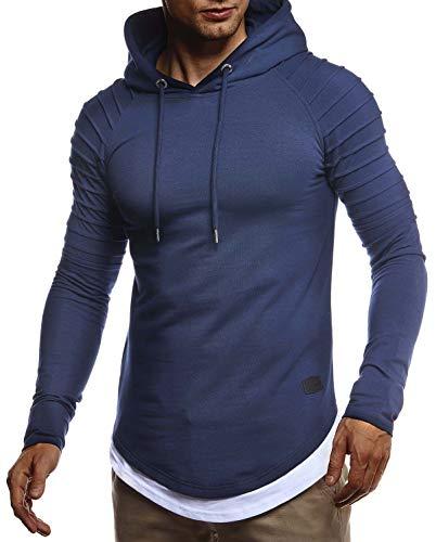 Leif Nelson Herren Kapuzenpullover Slim Fit Baumwolle-Anteil Moderner weißer Herren Hoodie-Sweatshirt-Pulli Langarm Herren schwarzer Pullover-Shirt mit Kapuze LN8155 D. Blau Medium