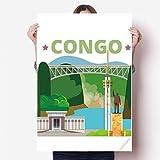 DIYthinker 80X55Cm Pared de la Ciudad Estatua Edificio Congo Vinilo Etiqueta Cartel Mural del Papel Pintado de la Etiqueta de Habitaciones 80cm x 55cm