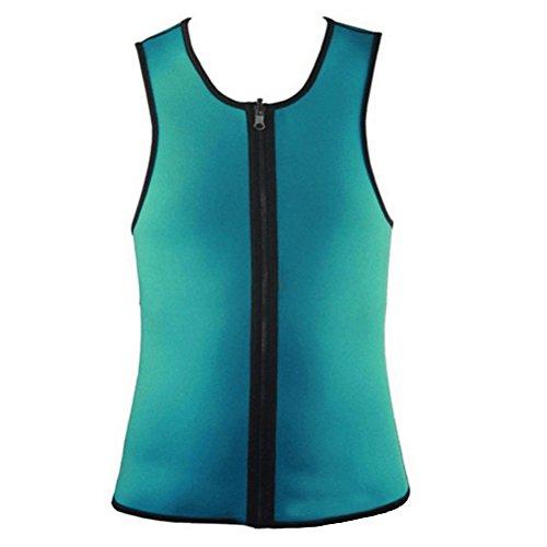 VORCOOL Men Waist Trainer Vest Zipper Sauna Tank Top Neoprene Body Shaper Slimming Vest Sweat Suit for Weight Loss (Green L)