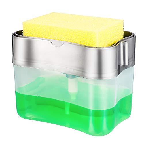 Gitua Spülmittelspender, 2 in 1 Spender mit Schwammhalter für Spülmittel, Seife, Körperlotion, Shampoo, Duschgel, 13OZ/380ML