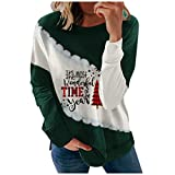 BHSJ Women's Chirstmas Printed Color Block Sweatshirts Casual Long Sleeve O-Neck Pullover Tops Packwork Hoodies Shrug Fall Goth Cute Anime Pink to Wear with Jeans Leggings Tall Tight Fit