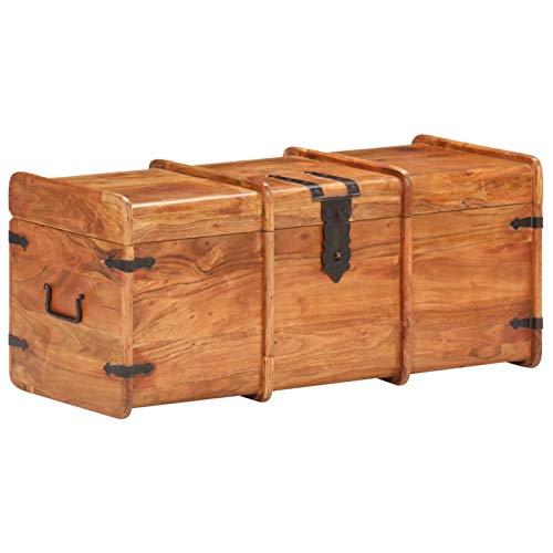 Tidyard Baúl almacenaje Cofre de Almacenamiento Madera Maciza de Acacia 90x40x40 cm