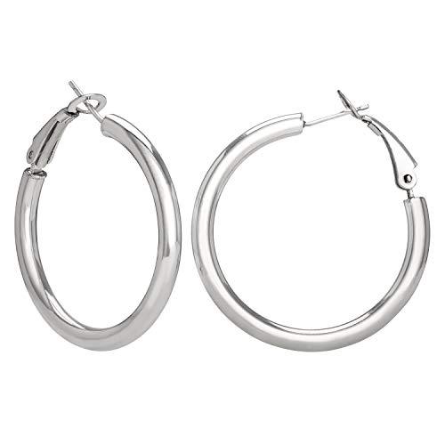 Ellen Tracy Sterling Silver Round Hoop Earrings for Women, 1.25