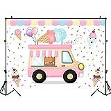 Fondo Rosa Carrito de Helados Retrato de niño Fondo fotográfico Decoración de Fiesta de cumpleaños Telón de Fondo Estudio fotográfico A2 9x6ft / 2.7x1.8m