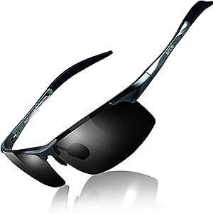 DUCO スポーツサングラス メンズ 偏光サングラス ブラック UV400保護 AL-MG合金 超軽量 運転/自転車/釣り/野球/スキー/ランニング/ゴルフ用 8177S