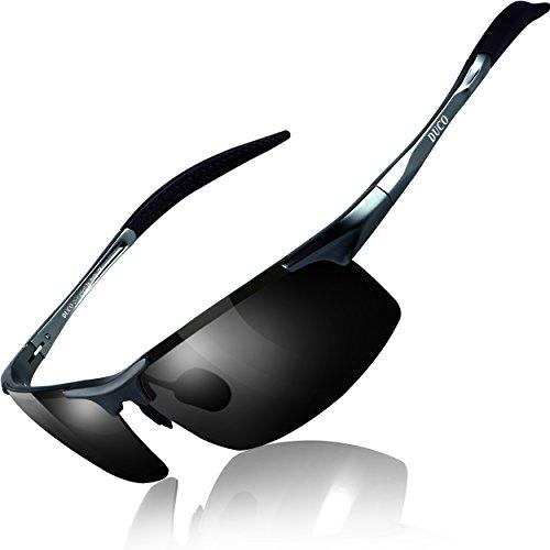 DUCOスポーツサングラスメンズ偏光サングラスブラックUV400保護AL-MG合金超軽量運転/自転車/釣り/野球/スキー/ランニング/ゴルフ用8177S