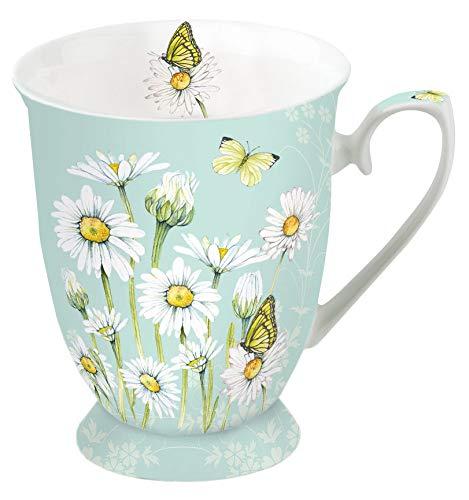 Ambiente Porzellan Becher Mug Tasse Tee/Kaffee Floral Daisy Green ca. 0.25L