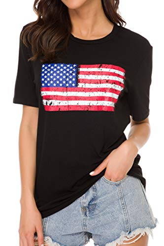 Women's American Flag Tee Shirts Short Sleeve 4th July, Type10, Size Large