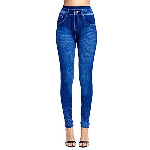 Homeilteds Leggings Plus Tize Jeggings Imprimir Mockets Mockets Slim Jeans Leggings Ladies Planchas Pantalones Skinny (Color : D Blue, Size : 3XL.)