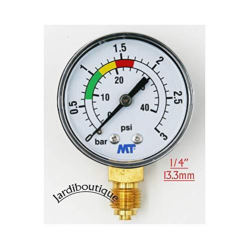Jardiboutique MT Manometer mit roter und grüner Markierung–ABS, Manometer mit Sandfilter, für Pool, 3Bar–Gewinde 1/4