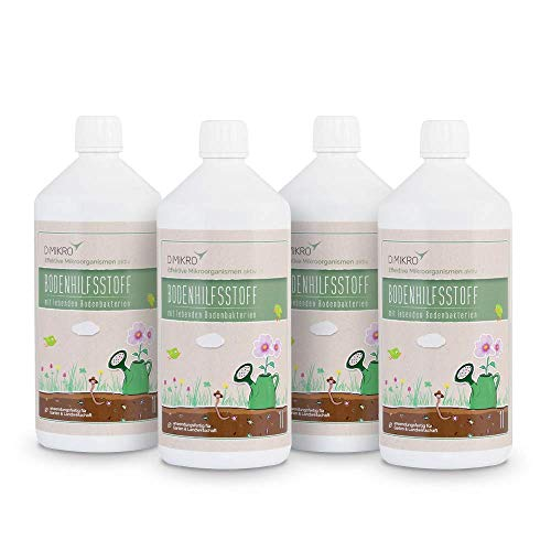 Effektive Mikroorganismen aktiv 4 Liter (4 x 1 Liter) - EM aktiv - Bodenhilfsstoff - Anwendungsfertig für z.B. Bodenaktivator, Kompostbeschleuniger, für Bokashi Eimer, Stallreiniger - 100% vegan