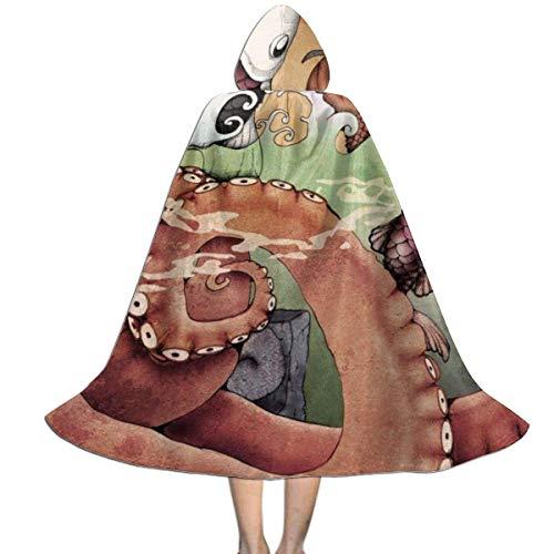 Amanda Walter Capa con Capucha para nios con pez Pulpo del ocano Chino para la Fiesta de Navidad de Halloween, Disfraz de Vampiro Brujo Mago de Cosplay para nios con Sombrero