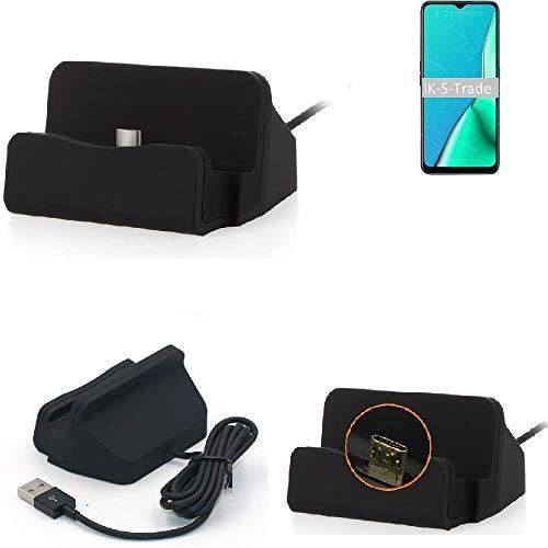K-S-Trade Per Oppo A9 2020 Caricabatterie Dock Caricatore Stazione di Ricarica Micro USB Docking Statoin Tavolo Desktop Dock Charger Charging Stand Cradle per Oppo A9 2020 Nero