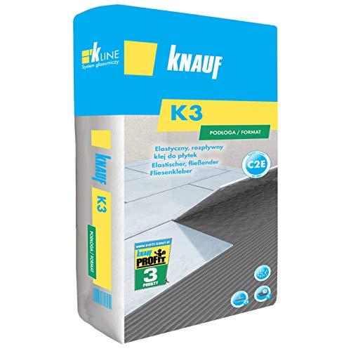 Knauf Fliesenkleber K3 25kg C2E SUPER Flexkleber flexibler Dickbettmörtel für Bodenfliesen und großformatige Fliesen im Innen und Außenbereich