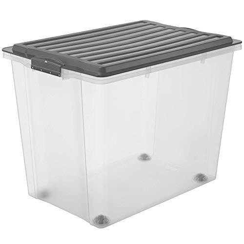 Rotho Compact Aufbewahrungsbox 70l mit Deckel und Rollen, Kunststoff (PP) BPA-frei, grau/transparent, A3/70l (57,0 x 39,5 x 43,5 cm)