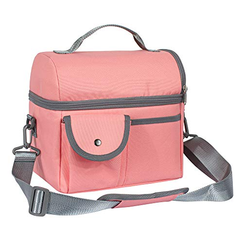 TOPERIN Lunch Box Insulated Lunch Bag for Men Women Lunch Bag for Work Light Red