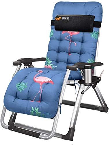 XZGDEN Ligero Tumbonas de jardín y sillón reclinables Sillas Plegables de Oficina con cojín de Almuerzo en textoline con Mesa Lateral Libre/Titular de la Taza (Color : Flamingo)