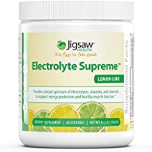 Jigsaw Health - Electrolyte Supreme Powder Drink Mix - Great Tasting Lemon-Lime Flavor - Broad Spectrum of Electrolytes + Trace Minerals - 60 Servings (Lemon Lime, Jar)