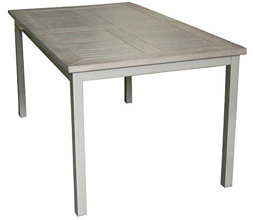PEGANE Table Extensible en Aluminium Coloris Champagne avec Plateau en résine Bois Coloris Gris - Dim : 75 x 150/210 x 89 cm