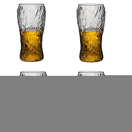 Lijia Taza Cerveza,Copas de Cerveza,Taza de Agua con patrón de Martillo en Espiral Vidrio sin Plomo Taza de Bebida Forma única Hermosa Curva Puede Satisfacer Las Necesidades diarias de Agua Potable