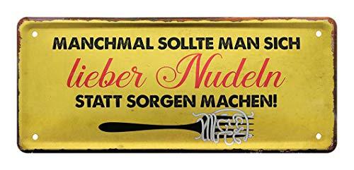 Blechschild Nudeln statt Sorgen - Schild für Nudel Aficionado - Deko für Küche, Esszimmer, Wirtschaft, Lokal, Imbiss - Geschenkidee für Nudel Fans - Spaghetti, Capellini, Vermicelli, Bigoli - 28x12cm