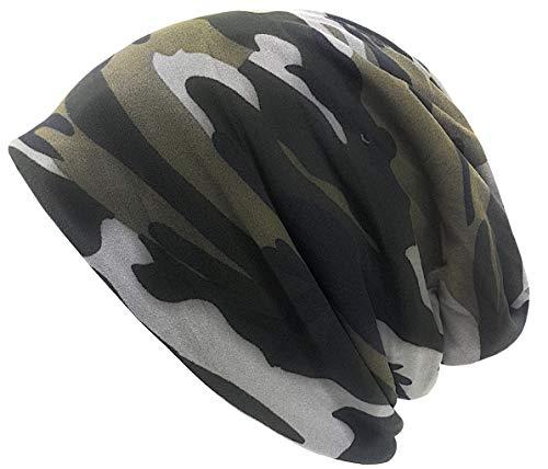 Feelinko Long Beanie mit Teddyfell Innenfutter im Army-Look Camouflage Slouch Mütze Unisex Herren Damen schwarz