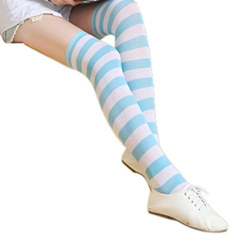 BESTOYARD Oberknie-Socken mit blauen und weißen Streifen.