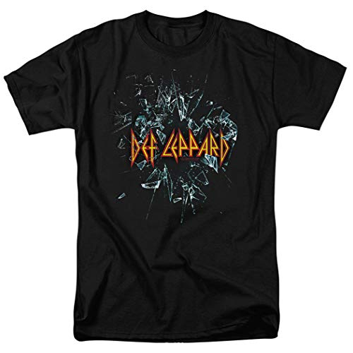Def Leppard Shattered Glass 80s Hard Rock T Shirt & Stickers (Large) Black