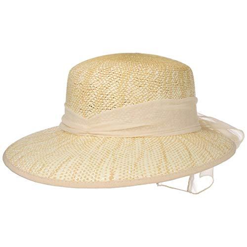 Lipodo Cappello di Paglia Twotone con Fiocco Donna - Made in Italy Estivo da Sole Cappelli Spiaggia Visiera Primavera/Estate - Taglia Unica Beige