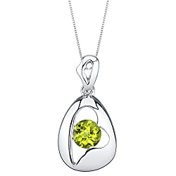 Sterling Silver Minimalist Pendant Necklace In Peridot Color