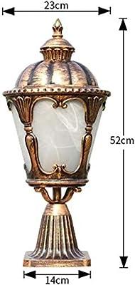 N / A Post Lantern Light, 23 * 52cm Continental Victoria Patio Lantern Outdoor Glass Table Lamp Traditional E27 Aluminum Waterproof Garden Pillar Column Lamp Street Lighting Fixture in Bronze I.
