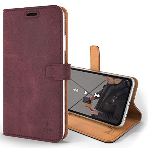 Snakehive Vintage Wallet for Apple iPhone XR || Real Leather Wallet Phone Case || Genuine Leather with Viewing Stand & 3 Card Holder || Flip Folio Cover with Card Slot (Plum)