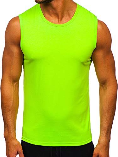 BOLF Herren Tank Top Ärmellose Tankshirt Muskelshirt Bodybuilding Unterhemd T-Shirt Tee Rundhalsausschnitt Aufdruck Basic Training Sport Fitness Slim Fit J.Style 99001-1 Grün-Neon XL [3C3]