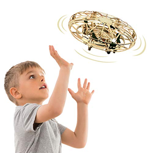 TOP TOY UFO Drones Toys for Kids, Best Easter Birthday Toys Gifts Games for 3-12 Year Old Boys Girls Kids Indoor Outdoor Flying Ball Drone Suspension Helicopter Toy for Teenager Boys Girls Gold UFO03