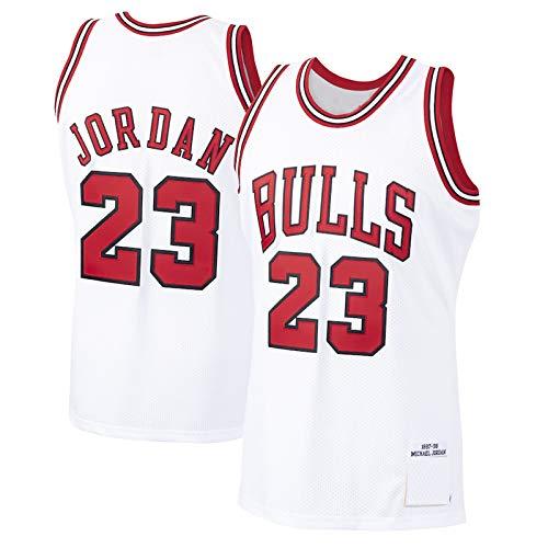 DHDFS Jordan Michael #23 Custom Herren Basketball Trikot Chicago Bulls 1997-98 Saison Hardwood Classics Player Jersey - Weiß