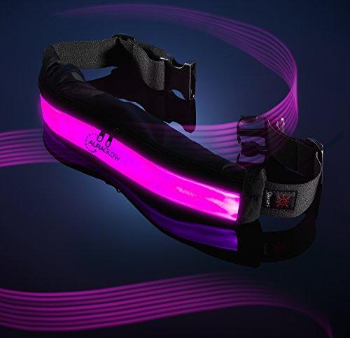 Auraglow Aufleuchten LED Reflektierender Wiederaufladbare USB Radfahren Laufen Sicherheitsgurt mit Taschen - ROSA